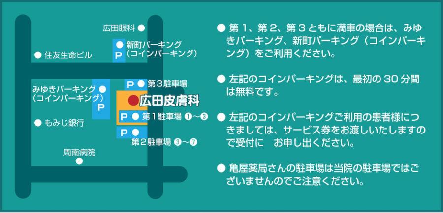 広田皮膚科 駐車場マップ